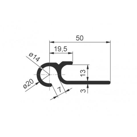 Aluminium profile for curtain tensioning
