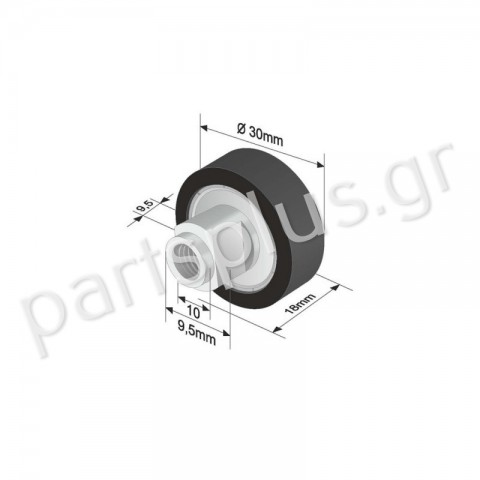 Roller SCHMITZ CARGOBULL D=30mm Black